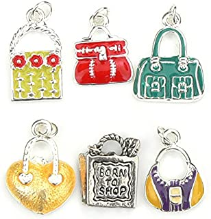 Handbag Charms - Enamel and Silver Plated - Set of 6
