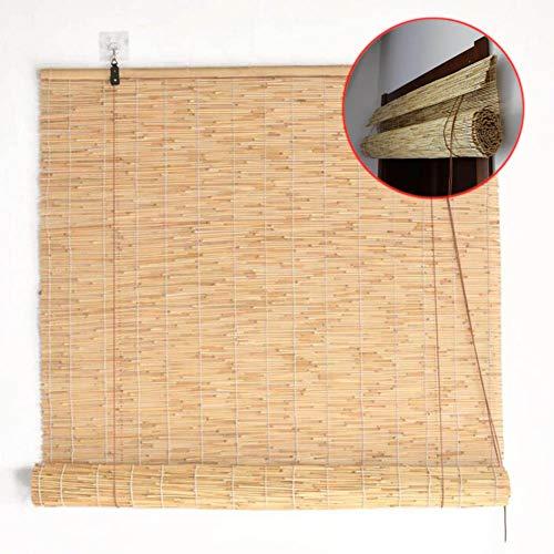 WYCD Bambusrollo Bambus Raffrollo Innen/Außen, Seitenzug Fenster Tür Rollos Holzrollo(120×225cm)
