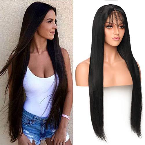 Silk-co Long Droit Noir Perruque lace front synthétique résistant à la chaleur Cheveux naturels des Perruques...