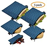 Reusable Sandwich Bags Snack Bags - Set of 5 Pack, Dishwasher Safe Lunch Bags with Zipper, Eco Friendly Food Wraps, BPA-Free. (PeacockBlue)