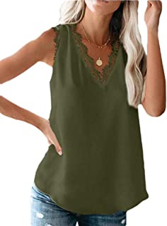 desolateness Womens V Neck Crochet Lace Strappy Cami Tank Tops Casual Loose Sleeveless Shirts Blouses
