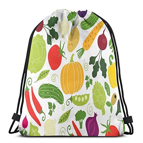 Easionerol Vegan Vegetables Drawstring Bags Gym Bag Travelling Portable
