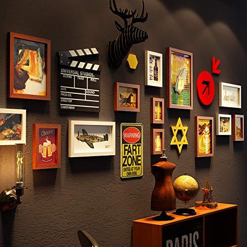 Anyi fotolijst, 13 stuks, collage, galerij lijst met frame, twee 11,3 x 15,2 cm, zes 15,2 x 20,3 cm, twee 22,7 x 27,7 cm, een 27,7 x 37,7 cm, twee 17,7 x 37,7 cm, twee 17,7 x 32,7 cm