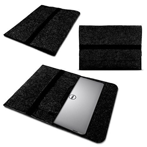 UC-Express Laptop Tasche Sleeve Hülle für Dell XPS 13 9380 9370 9360 9365 Notebook Netbook Case aus strapazierfähigem Filz in Grau mit praktischen Innentaschen, Farbe:Dunkel Grau