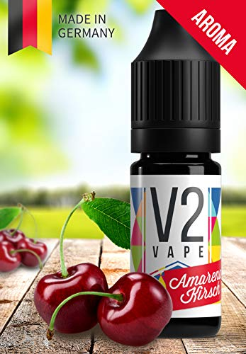V2 Vape Amarena-Kirsche AROMA / KONZENTRAT hochdosiertes Premium Lebensmittel-Aroma zum selber mischen von E-Liquid / Liquid-Base für E-Zigarette und E-Shisha 10ml 0mg nikotinfrei