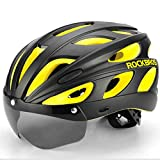 YUEBM Yellow Cycling Helmet Mountain Road Bike Helmet with Goggles Polarized One-Piece Dazzling Color Suitable for Men and Women, Riding Accessories