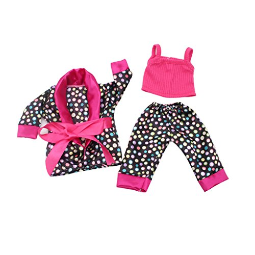 Set de Ropa Pijama Traje Tops Pantalones Zapatos para 18 Pulgadsa Americanas Chicas Muñecas