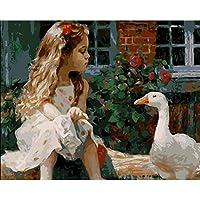 WEIFENGX油絵 数字キットによる絵画 塗り絵 大人 手塗り DIY絵 デジタル油絵 フレームレス 40x50cm - 女の子とアヒル