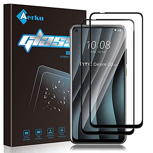 Aerku Panzerglas Schutzfolie für HTC Desire 20 Pro [2Stück],Fingerabdruck 9H Festigkeit Ultra Clear Bildschirmschutzfolie Anti-Bläschen Panzerglasfolie für HTC Desire 20 Pro -Schwarz