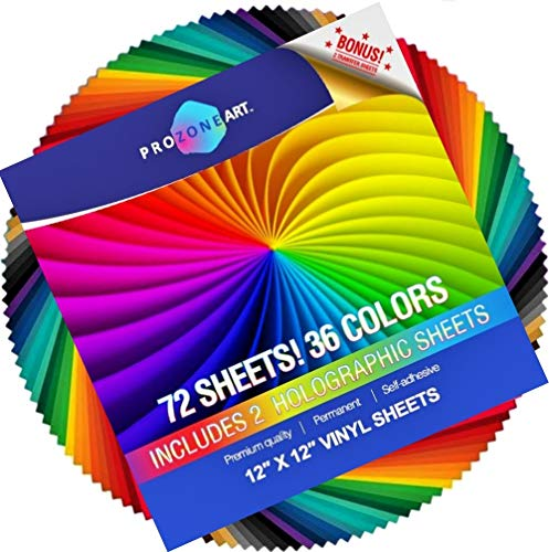 72 Pack 12x12, Premium, Permanent, Outdoor, Self Adhesive Vinyl Sheets in 36 Assorted Glossy Colors Including 2 Holographic Sheets and 2 sheets Clear Transfer Tape for Cricut and Other Craft Cutters