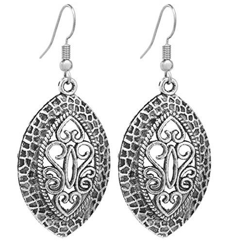2LIVEfor Ohrringe Ethno Tropfen Tibet Ohrringe Bohemian Vintage Ohrringe Hängend Antik Style Silber Tropfenform Blatt Ohrhänger Retro Ornamente Gross