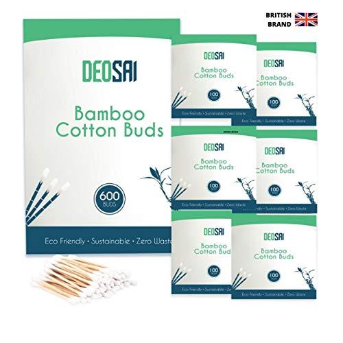 600 hochwertige Bambus-Baumwoll-Wattestäbchen   100% biologisch abbaubare und plastikfreie Ohrstöpsel aus Baumwolle   tolle Alternative zu Plastik-Wattestäbchen/Wattestäbchen/Ohrstöpseln