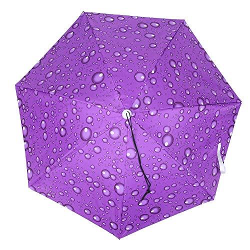 Acouto Headwear Cap Umbrella, 77Cm Protector Solar a Prueba de Viento Paraguas Montado en la Cabeza Paraguas Plegable Superior (Gota de Lluvia Morado)(púrpura)