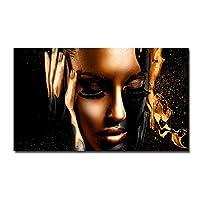 キャンバスポスター、壁画、ブラックゴールドヌードウーマンキャンバス絵画、アフリカの壁アートポスターとプリント、スカンジナビアの壁の写真、リビングルームの装飾用-フレームレス30x60_A