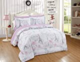 Better Home Style Pink White Grey Blue Floral Paris Eiffel Tower Bonjour Flowers Design 7 Piece Comforter Bedding Set Bed in a Bag with Complete Sheet Set # Paris Rose (Queen Size)