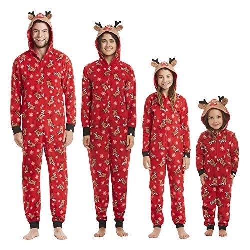 Natale Famiglia Pigiama Felpa Tuta con Cappuccio e Zip Pagliaccetti Inverno Monopezzi e Tutine Renna Jumpsuit Animali Salopette Maniche Lunghe per Mamma papà Bambino Christmas Costume da Notte Overall