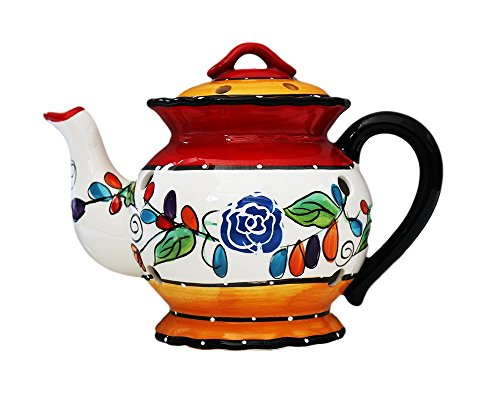 "Tuscan Casa Cortes Hand Painted Tutti Frutt Collection Ceramic Electric Tart/Wax Burner 8-1/2""H, 89564 By Ack"