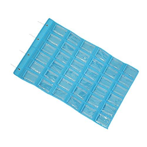 Fenteer 36 Bolsillos Que Cuelgan El Organizador De La Joyería En Almacenamiento del Broche del Armario O De La Puerta 3 Colores - Azul