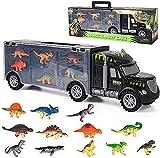 sanlinkee Dinosaurio del Juguete Camión Transportador con 12 Figuras de Juego de Mini Dinosaurio,Educativo Juguete Regalo de Cumpleaños Navidad para Niños 1 2 3 4 Años