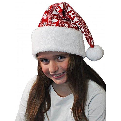 decorativo Cappello di Babbo Natale con renne e fiocchi di neve/Babbo Natale costume di cappello
