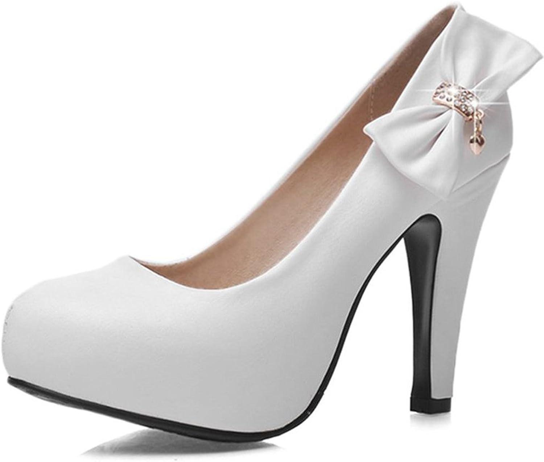 Kaloosh Womens'Fashion Leisure Elegant Suede Bowtie Sexy Sweet Metallic Decoration Slip On Round Toe Thin Heel high Heels Wedding shoes Court shoes