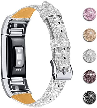 Joyozy Leather Band Compatible with Fitbit Charge 2 Replacement Bands Slim Classic Genuine Leather product image