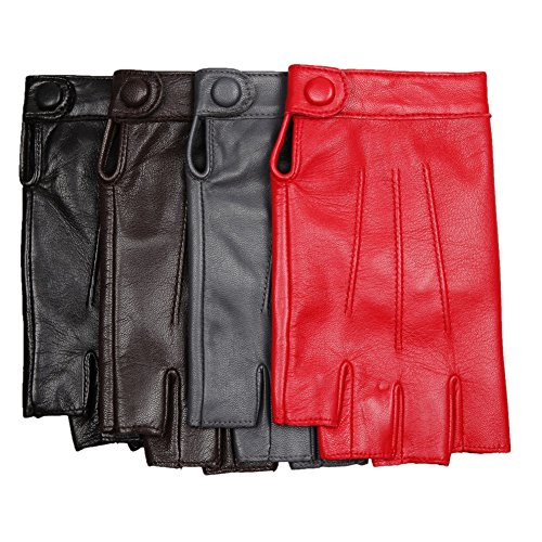 Womens Fingerless Half Finger Lambskin Leather Gloves for Driving Biking Cycling Shooting Performance Dancing Cosplay (L, black)