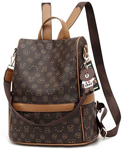 ECOTISH Mochila Antirrobo Mujer Bolso Mochila PU Cuero Impermeable para Mujer Mochila Casual Bolsa de viaje Messenger Bag Backpack (marrón)