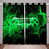 Feelyou Gaming Curtain Kids Gamer Curtains for Boys Girls Game Controller Window Drapes Modern Gaming Console Window Curtains Geometry Green Black Game Room Decor (2 Panels, 42 x 63 Inch)