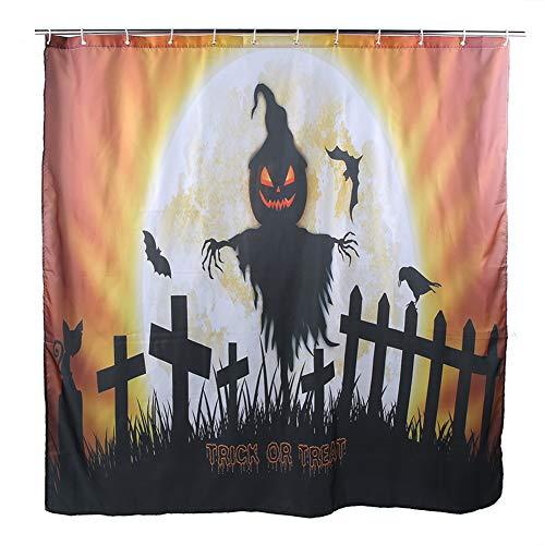 CHENQIAN Duschvorhang, Halloween wasserdichtes Polyester Badezimmer Kürbis Duschvorhang Dekor mit 12 Haken für Hotel Badezimmer
