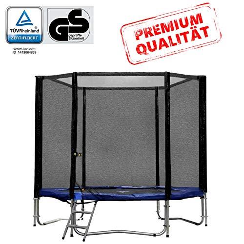 Baunsal GmbH & Co.KG Gartentrampolin Trampolin 244 bis 250 cm in blau mit Sicherheitsnetz und Einstiegsleiter