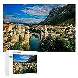 Promini Puzzle de madera Mostar Bosnia y Herzegovina Puente del río Neretva blanco-color3 1000 PCS Desafiante Puzzle Juego Divertido Juguetes Familiares Juegos Educativos