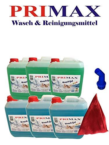 6 x 5 Liter Primax Flüssigwaschmittel 3 x grün 3 x blau mit Ausgießer Waschgel Waschmittel