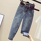 Jeans Mujer Cintura Alta Pantalones Vaqueros Rotos Sueltos Retro Azul Casual Algodón Denim Harem...