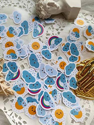 35-90 PCS Set Cute Cartoon Weather Expression Sunny Cloud Rainbow Pegatinas en el Diario Ablum Scrapbook Etiqueta Papelería Diario