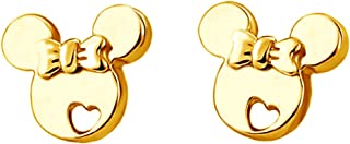 14K Gold Over Sterling Silver Mickey Mouse Bow Heart Cut-Out Stud Earrings