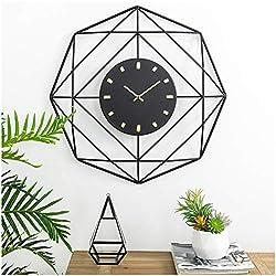 "Glitzhome 24""Modern Wall Clock Metal Black & Golden Clock Oversized Indoor Silent Battery Operated Decorative Wall Clock Modern Home Decoration for Home Living Room Bedroom Kitchen Office Classroom"