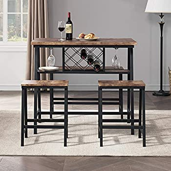 O&K FURNITURE 4-Piece Counter Height Dining Room Table Set Bar Table with One Bench and Two Stools Industrial Table with Wine Rack for Kitchen Counter Small Space Table and Chairs Set Rustic Brown