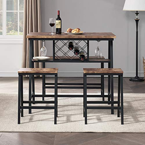 O&K FURNITURE 4-Piece Counter Height Dining Room Table Set, Bar Table with One Bench and Two Stools, Industrial Table with Wine Rack for Kitchen Counter, Small Space Table and Chairs Set, Rustic Brown