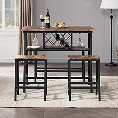 O&K FURNITURE 4-Piece Counter Height Dining Room Table Set, Bar Table with One Bench and 2 Stools, Industrial Table with Wine Rack for Kitchen Counter, Small Space Table and Chairs Set, Rustic Brown - Wonderful Table Set --This counter height table set come with 2 stools and 1 bench, it is perfect for friends to stand around and drink, or to sit at for a meal. Also a great choice for the home, restaurant, bar, pub, bistro, coffee bar, kitchen bar table. Creative Design --There is an extra platform,wine rack and glass holders under the table to store dishes, vases, wine, cups and keep items handy; provide enough storage space and clear up our counter space for your daily meal times. Functional & Practical -- Function as both a counter top and as a kitchen table that was absolutely ideal for limited space. The stools fit almost perfectly underneath and do not stick out. Industrial style design, rustic brown finish easy to blend with all kinds of furniture. - kitchen-dining-room-furniture, kitchen-dining-room, dining-sets - 51QBvP+J+ZL. SS400  -
