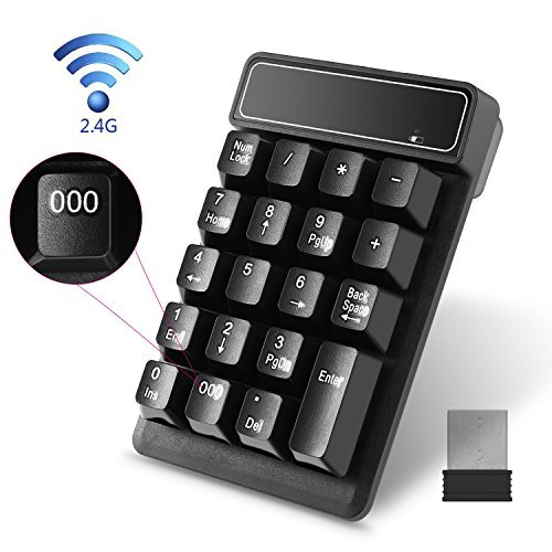 Numeric Keypad Wireless Eletek 19 Keys Waterproof Numpad with 2.4G Wireless Mini USB Number Pad Receiver for Laptop Notebook Desktop Windows PC