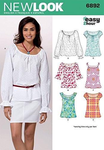 New Look Ladies Easy Sewing Pattern 6892 Summer Tops & Blouses