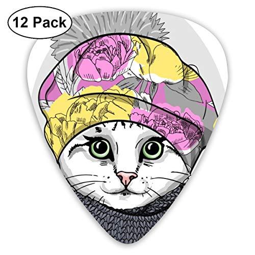 Gitaar Pick witte kat met baret en gebreide sjaal 12 stuk gitaar peddel set gemaakt van milieubescherming ABS materiaal, geschikt voor gitaren, quads, enz.