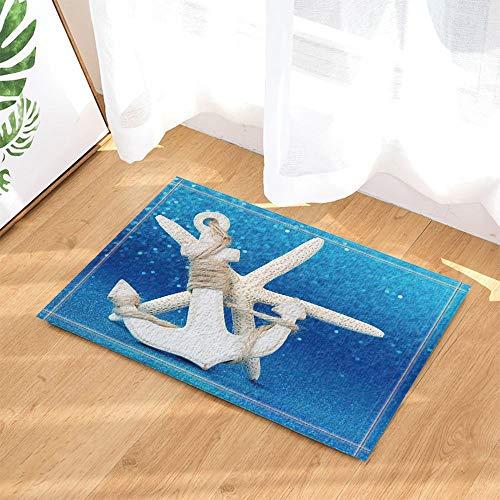 gohebe Creative Maritimes Dekor Holz Anker mit Seestern in blau Bad Teppiche rutschhemmend Fußmatte Boden Eingänge Innen vorne Fußmatte Kinder Badematte 39,9x59,9cm Badezimmer Zubehör