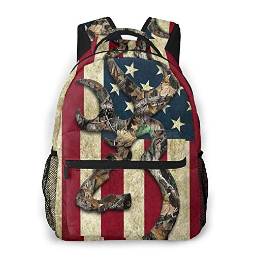 Browning Deer Camo American Flag 3D Customized Unisex Travel Daypack Bookbag Casual Backpack