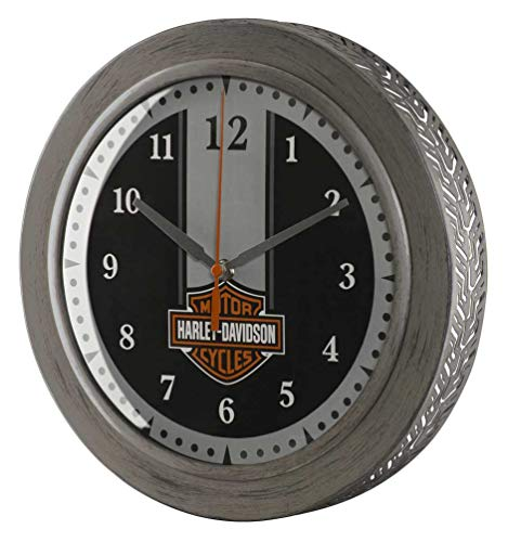 Harley-Davidson Custom Metal Tire Tread Bar & Shield Clock - 12 inch HDX-99176
