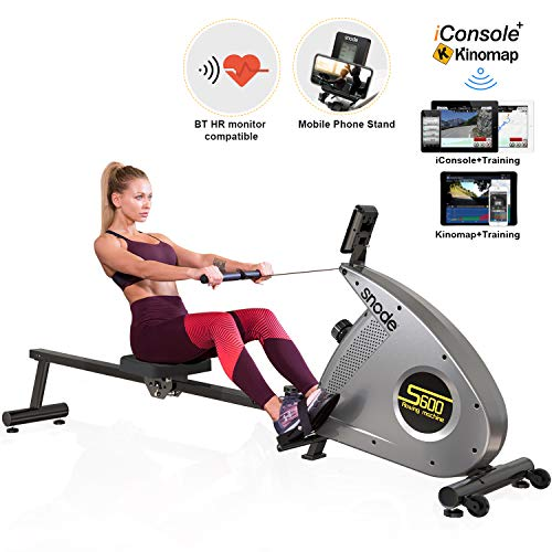 SNODE Bluetooth Magnetic Rowing Machine Rower with Bluetooth Heart Rate Monitor Compatible and Free APP, Adjustable Resistance, Soft Seat, Smooth Quiet Home Fitness Workout
