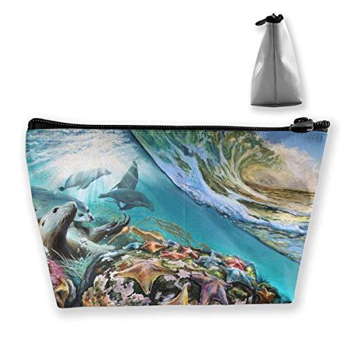 Sac à cosmétiques trapézoïdal, trousse de maquillage, trousse de toilette lions de mer, sac de voyage sous-marin, sac à main