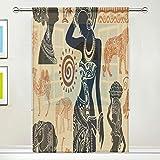 ISAOA Cortina de tul transparente, juego africano de cortina de ventana para sala de estar/dormitorio, ventana para el hogar, decoración y moda individual, panel 132 x 213 cm