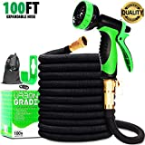 Expandable 100ft Garden Hose | New 2020 Superior Strength Lightweight Water Hose 100ft | Retractable Non Kink Flexible Black Hose | Solid Leak Proof 3/4 Inch Brass Connectors |10 Function Sprayer